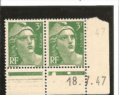 MARIANNE DE GANDON  Bloc De 2 Coin Daté  N° 716A** 18.07.47 - 1940-1949