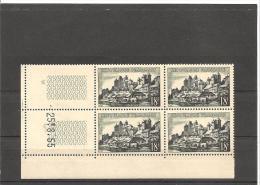 SERIE TOURISTIQUES  Bloc De 4 Coin Daté  N°1040 **  25.08.55 - 1950-1959
