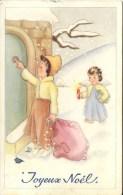 JOYEUX NOEL - ART DRAWN CHILDREN AT DOOR - Christmas