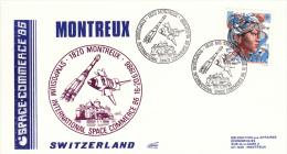 Enveloppe 20-6-1986 Montreux Suisse  SYMPOSIUM INTERNATIONAL SPACE COMMERCE - FDC & Commémoratifs