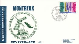 Enveloppe 25-2-1988 Montreux Suisse  SYMPOSIUM INTERNATIONAL SPACE COMMERCE - FDC & Commémoratifs