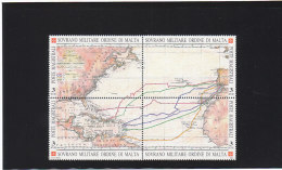 SMOM 1992 5° CENTENARIO SCOPERTA AMERICA - 4 VALORI IN BLOCCO - INTEGRO - Malte (Ordre De)
