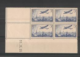 Poste Aérienne N°12 En Bloc De 4 Coin Daté Du 11/09/1935 - Neuf Luxe ** - Dated Corners