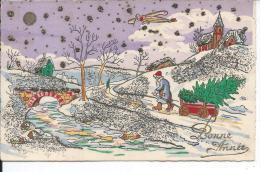 Paysage Enneigé  - Illustration - Carte Pailletée - Zonder Classificatie