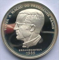 VF   MACAO 100 Patacas 1985   Silver Proof VISITA MACAU RAMALHO EANES   S/ Certificado - Macao