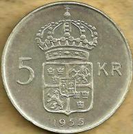 SWEDEN 5 KRONOR SHIELD FRONT KING HEAD BACK 1955 AG SILVER KM? VF+ READ DESCRIPTION CAREFULLY !!! - Suède