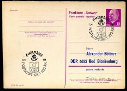 100 JAHRE POSTFILIALE FINSPÅNG Schweden Auf DDR P74A Antwort-Postkarte ZUDRUCK BÖTTNER #1 - Post