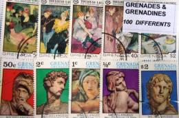 GRENADA GRENADINES, Lot De 200 Timbres Tous Differents Neufs Et Oblitérés. Satisfaction Assurée - Grenada (1974-...)