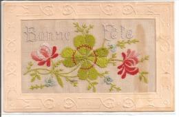Carte Brodée - Bonne Fête - Fleurs, Trèfle à 4 Feuilles - Brodées