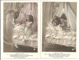 Anges, Enfants - Lot De 2 Cartes - Brodées