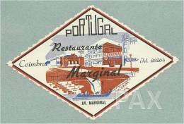 COIMBRA ♦ RESTAURANTE MARGINAL ♦ PORTUGAL ♦ VINTAGE LUGGAGE LABEL ♦ 2 SCANS - Hotel Labels