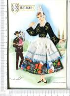 Couple  De  BRETONS - Costume Régional  - QUIMPER -  Carte Brodée - Corsage Et  Coiffe Brodés, Jupe En Tissu - Bretagne