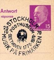 BEETHOVEN POSTMUSEUM Stockholm Sweden 1970 On East German Postal Card P 74 A Private Print Böttner #1 - Musik