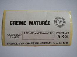 T218 / Etiquette Autocollante De Crème Maturée - LOTI à ROYAN - Charente-Maritime - Otros