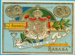 Cigar Label. J.Alvarez. Habana. Not Used. (8,4X11,2 Cm.) - Labels