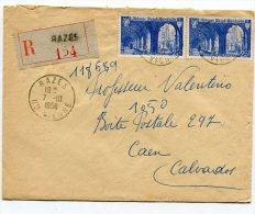 HAUTE VIENNE De RAZES Enveloppe  Recommandée De   1950 - 1921-1960: Moderne