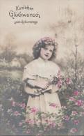 Geburtstagskarte Mädchen Mit Blumen Gelaufen 30.7.09 - Geburtstag