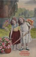 Geburtstagskarte 2 Mädchen Mit Blumen Gelaufen 29.7.10 - Geburtstag