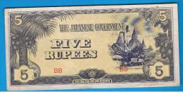 BURMA Ocupacion Japonesa = 5 Rupias ND  P-15 - Myanmar