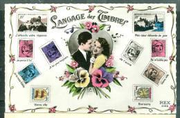 Carte Postale Pouvant Illustré Thematique , LANGAGE DES TIMBRES , Couple, Timbres Type Gandon    - Bcs 74 - 1977-81 Sabine Of Gandon