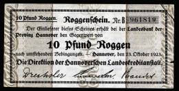 A2007) DR Infla Notgeld Roggenschein 10 Pfund Hannover 23.10.1923