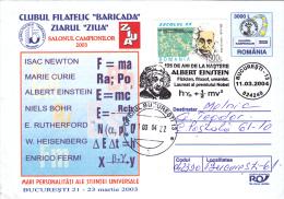 NOBEL, ALBERT EINSTEIN, PSYSICS,  COVER STATIONERY, ENTIRE POSTAUX, 2004, ROMANIA - Albert Einstein
