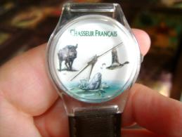 Montre Homme Du Chasseur Français, Sanglier, Canard, Truite Sur Cadran - Advertisement Watches