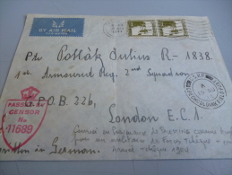 ENVELOPPE DE PALESTINE (aout 1944) POUR MILITAIRE TCHEQUE A LONDRES - 1939-45