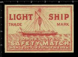 Poster Stamp - Sweden Matchbox Label - Transport Ship Schiffe Lightship Feuerschiff - Boites D'allumettes - Etiquettes