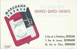 Buvard Publicitaire - Vêtement MARCHAND FRERES, Boutiques à Douai, Somain, Denain ( 21 / 13,50 Cm ) - Textile & Clothing