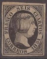ES006-L1044TFR.España.Spain .Espagne.ISABEL   II.1851. (Ed 6*) Con Charnela. LUJO.CERTIFICADO - Familias Reales