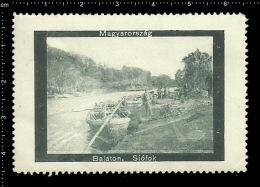 Old Original Hungarian Poster Stamp (advertising Cinderella,reklamemarke ) Lake Balaton Hungary - Ship Boat Boot See - Bateaux