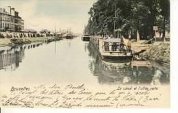 """BRUXELLES -  Le  CANAL Et L'allée Verte. -  SPLANDIDE  CPA  COULEUR. -  BATEAU - PÉNICHE -  Ecriteau """"LAEKEN""""  à Dr - Maritime"""