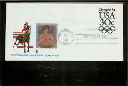 USA  -  Intero Postale  -  Stationery   -   30c.   Horse  -  Canottaggio   Remi - Postal Stationery