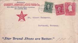 USA - 1906 - ENVELOPPE ENTIER POSTAL Avec REPIQUAGE COMMERCIAL De ST LOUIS Pour DORTMUND (GERMANY)