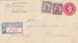 USA - 1926 - ENVELOPPE ENTIER RECOMMANDEE Avec REPIQUAGE De SALTVILLE Pour BREMEN (GERMANY) Avec OBLITERATION PLUME