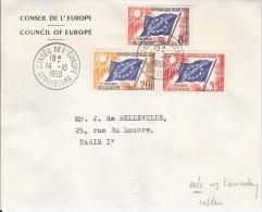FRANCE CONSEIL EUROPE COUNCIL OF EUROPE 14-10-1958 1ERE DATE D UTILISATION DRAPEAU FAHNE FLAG RARE SELTEN - Lettres & Documents