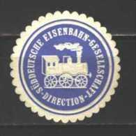 Deutsches Reich  Präge-Trocken-Siegel  Süddeutsche -Eisenbahn -Gesellschaft Direction  Abbildung Lok  Durchmesser 40 Mm. - Transport Und Verkehr