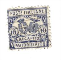 1928 Recapito Autorizzato 10 Cent Usato  COD FRA.223 - Postal Parcels