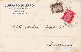 """BAGHERIA / Cartolina Pubblicitaria  """" CUFFARO Filippo - Deposito Sfarinati """"  Firma _ Viaggiata - Palermo"""