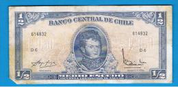 CHILE - 1/2 Escudo ND  P-134A  Serie D6 - Chile
