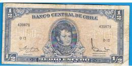 CHILE - 1/2 Escudo ND  P-134A  Serie D15 - Chile