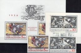 Spanien Brigaden 1936 Gemälde CSSR 2624,2880, Block 45+68 ** 16€ Maler Sychra+Picasso History Art Sheet Tschechoslowakei - Blocks & Sheetlets