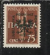 LUBIANA 1944 OCCUPAZIONE TEDESCA BENEFICENZA 75 CENT. + 20 LIRE MNH - Occup. Tedesca: Lubiana