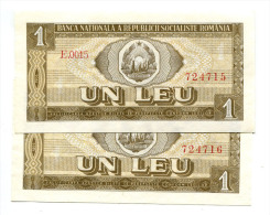 Roumanie Romania Rumänien 1 Leu 1966 UNC - 2 Consecutives # 2 - Roumanie