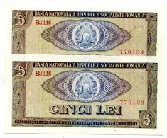 Roumanie Romania Rumänien 5 Lei 1966 UNC - 2 Consecutives - Roumanie