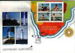 REPUBLIC OF SOUTH AFRICA, 1988, Lighthouses,  First Day Cover S14 Block 16 - South Africa (1961-...)