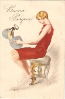 BIANCHI  - ART DECO POSTCARD 1920s - WOMAN WITH  '' LITTLE MAN '' - Illustratori & Fotografie
