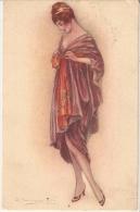 BOMPARD - ART DECO POSTCARD - WOMAN & RED DRESS - N.425-1 -  1920s - Bompard, S.