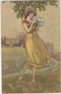 BOMPARD - ART DECO POSTCARD 1920s - WOMAN & FLOWER - N. 945 - Bompard, S.